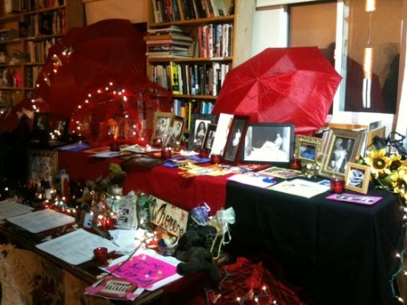 photo by Carol Queen of the altar at the Dec 17th event at the Center for Sex and Culture